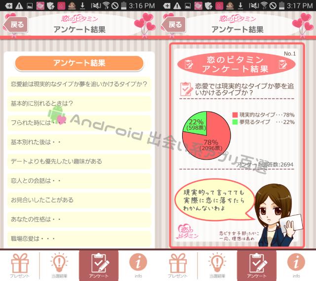 恋のビタミンアンケート結果画面